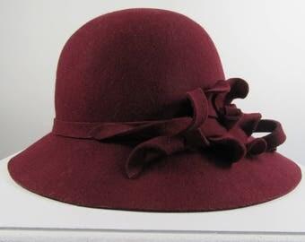 Vintage Inspired Cloche Flower Trim Hat, Formal, Wedding