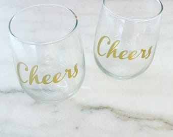 Stemless Wine Glasses Set of Two | Cheers Glasses | Wine Glasses | Wedding Wine Glasses