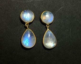 Rainbow Moonstone Earrings | 54499 | Moonstone | Silver Earrings | Gold Plated Gemstone Ring | June Birthstone | Moonstone Engagement Ring
