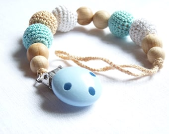 Blue pacifier clip / Crochet dummy clip / Handmade dummy clip / First baby boy gift / Shower party gift / Eco pacifier holder / Soother clip