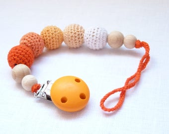 Orange soother clip / Unisex binky clip / universal dummy clip / Baby dummy holder / Crochet soother clip /  Baby binky clip / Dummy chain