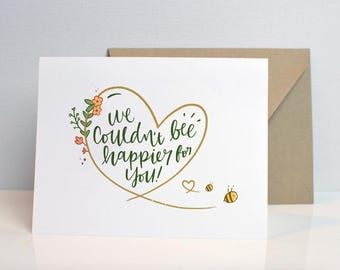 Couldnt Bee Happier - Punny Baby Shower Card