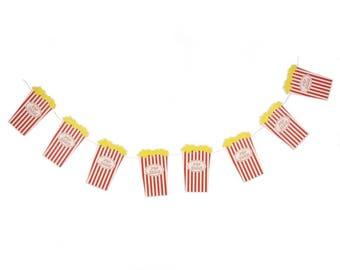 Popcorn Party Decor, Circus Party Decor, Popcorn Banner, Carnival Decor, Circus Party,Popcorn Garland,Popcorn Containers,Movie Night Decor,