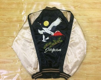 Hoshihime Flamingo Mt.Fuji Embroidery Sukajan Souvenir Jacket