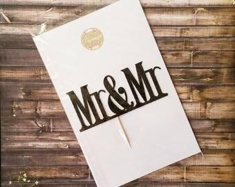 Mr & Mr wedding cake topper in Black Glitter