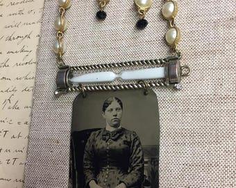 Time stood still assemblage tintype photo necklace set
