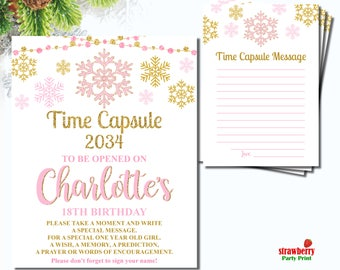 Winter Onederland Time Capsule, Winter Birthday Time Capsule, Pink & Gold Girl First Birthday, Time Capsule Sign Digital Printable, A59 A60