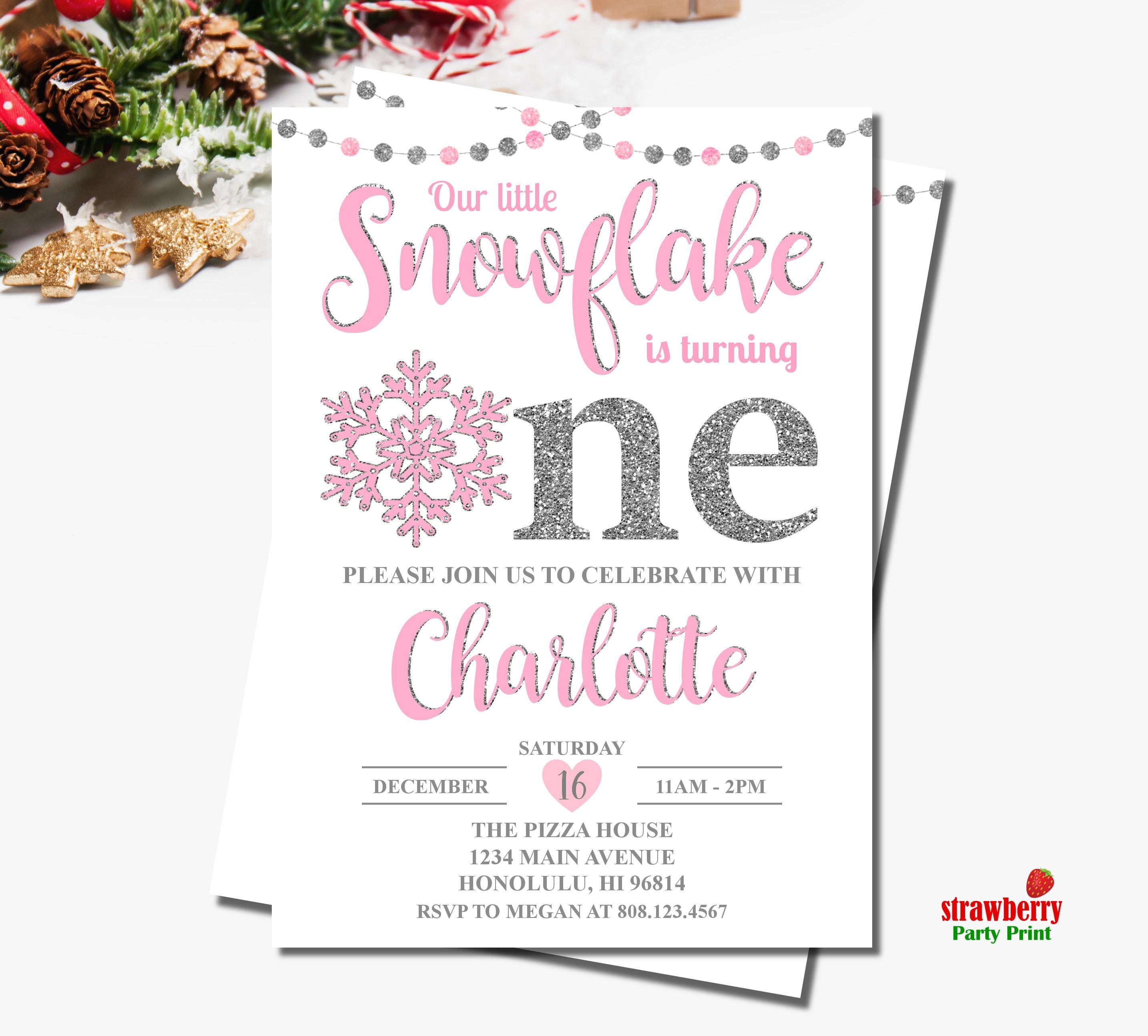 Winter ONEderland Invitation Girl. Snowflake Birthday Invitation ...