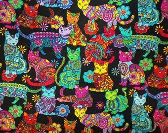 "31"" x 43"" Gail Caddon Cat Coloring 100% Cotton Fabric CR #5"