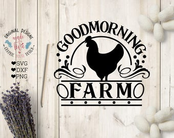 Farm House svg, Good morning Farm Cut File in SVG, DXF, PNG, Rooster Farm svg, Farm life svg, Farm svg file, Farm welcome sign svg, Barn svg