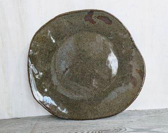 Farmhouse Dinner Plate, Ceramic Plate, Freeform Organic Plate, Handmade Rustic Pottery Plate, Stoneware Dinnerware, Gloss Finish