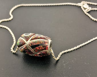Fire Opal & Onyx Bead Pendant