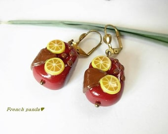 Pair of greedy earrings polymer clay.