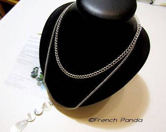 Necklace double strand metal silver and pure nacre.