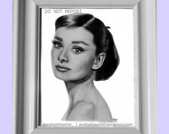Audrey Hepburn. Art Print. Portrait. Black and White illustration.