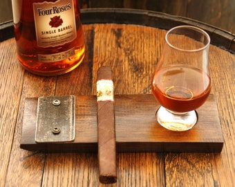 Handcrafted Whiskey Barrel Cigar and Glencarin Glass Holder / Tray