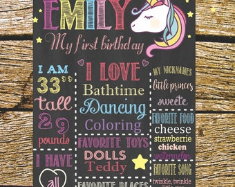Slate birthday Unicorn, Ddigital, printable.