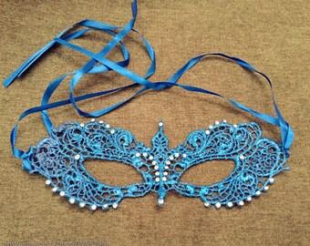 Intrincado suave brocado cordón bola de máscara de la mascarada con brillantes piedras preciosas traje de vestir fiesta