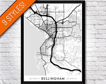 Every Road in Bellingham map art   Printable Bellingham map print, Bellingham print, Bellingham poster, Bellingham art, Bellingham wall art