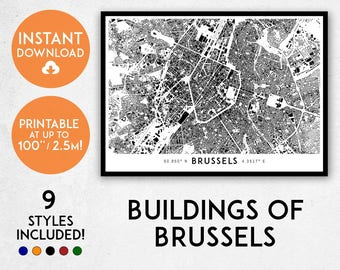 Brussels map print, Printable Brussels map art, Brussels print, Brussels art, Brussels poster, Brussels wall art, Brussels gift, Belgium map