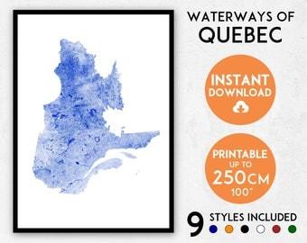 Quebec map print, Quebec print, Canada map, Canada print, Quebec poster, Quebec wall art, Map of Quebec, Quebec art print, Quebec city map