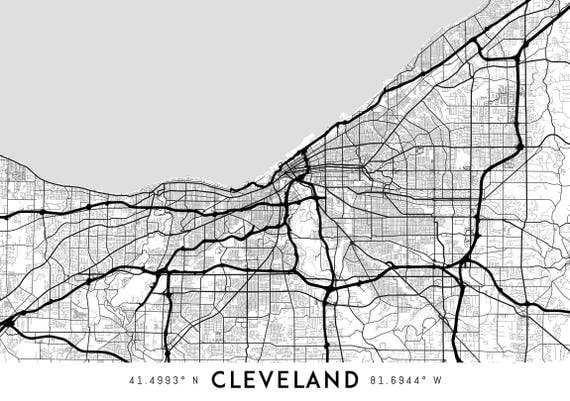 Cleveland Map Print Printable Cleveland Map Art Cleveland - Usa map cleveland