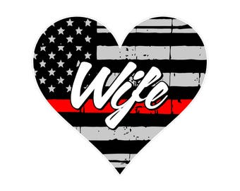 Thin Red Line Heart Wife Decal- Firefighter Heart- Firefighter Wife