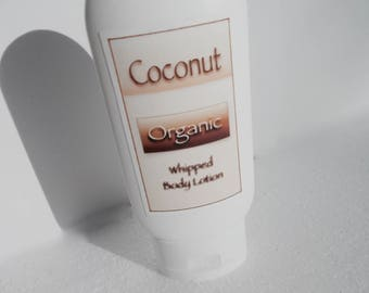 Coconut Organic Lotion - Extra Virgin Coconut, Olive Oil, Fair Trade Cocoa Butter - Whipped Body Lotion - All Natural, Organic Body Care
