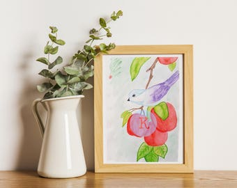 Illustration bird apples-illustration bird apple by hand in watercolor