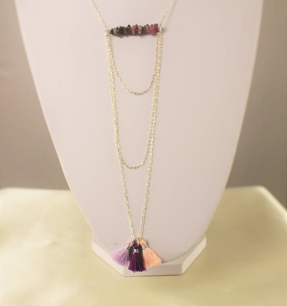chic bohemian necklace Silver 925 fine stones and tassels