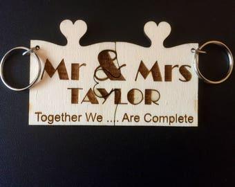 Keyring Valentine jigsaw pieces 2 x Keyrings Personalised