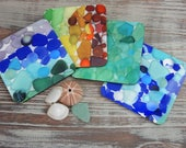 Sea Glass Coasters - Mix and Match - 12 Seaglass Colors - Great for beach house, patio, hostess gifts, stocking stuffer, home, and office