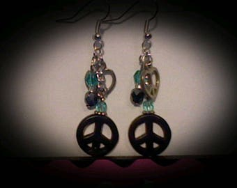 Peace sign funky earrings. Black magnesite charm w/turquoise accent beads.