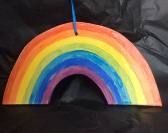 Ceramic hanging rainbow, hand made rainbow, hand painted rainbow, hanging rainbow, ceramic rainbow