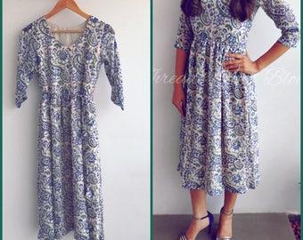 Chiffon Hand Block Printed Midi Dress