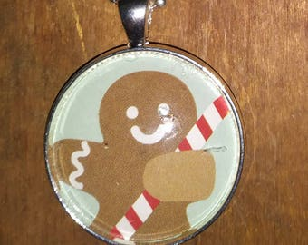 Gingerbread Man Necklace - Christmas Necklace - Pendant Necklace - Stocking Stuffer