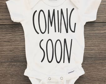 Coming Soon Pregnancy Announcement Onesie® / Bodysuit / Pregnancy Reveal / New Baby / Surprise Reveal / Gift For Family / Baby / New Dad