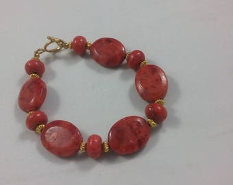 bright coral, one of a kind, left or right handed bracelet