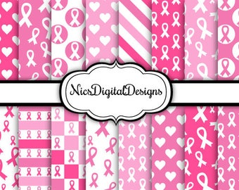 Buy 2 Get 1 Free-16 Digital Papers. Breast Cancer Awareness Papers (3 no 4) for Personal Use and Small Commercial Use Scrapbooking