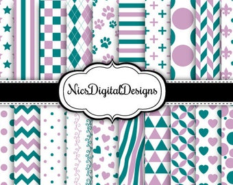 Buy 2 Get 1 Free-20 Digital Papers-2 Tone Patterns in Lilac and Teal (2B no 12) for Personal Use and Small Commercial Use Scrapbooking