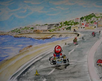 Mario Kart 8 on the ledge in Marseille, original watercolor print