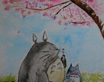 Totoro Sakura Hanami Dango 1 under cherry blossoms, watercolor print