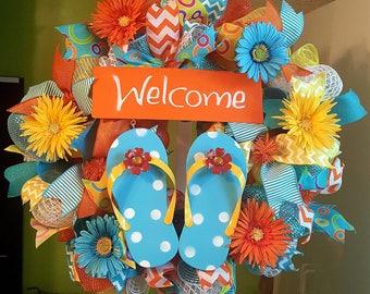Summer Wreath, Summer Mesh Wreath, Welcome Wreath, Flip Flop Wreath, Whimsical Wreath