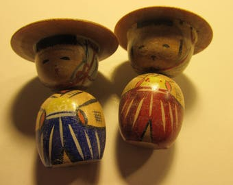 "Vintage Handmade Japanese Country Farmers Wooden Kokeshi Dolls, 2"", Set of 2"