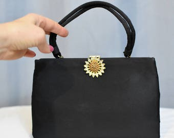 Ingber Black Purse with Jeweled Clasp