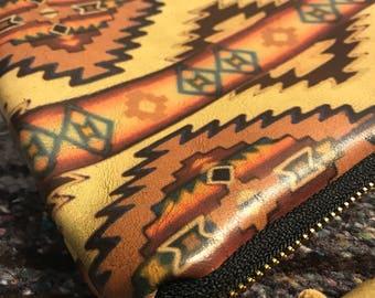 CHIEF leather aztec clutch Khaki