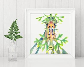 Leafy seadragon, seahorse, sea life, aquatic, animals, watercolour print
