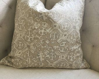 "Grey and White Block Print Pillow Cover, 22"" x 22"""