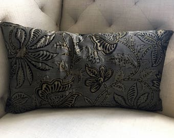 Laura Kirar for Highland Court Brown Silk Floral Pillow Cover