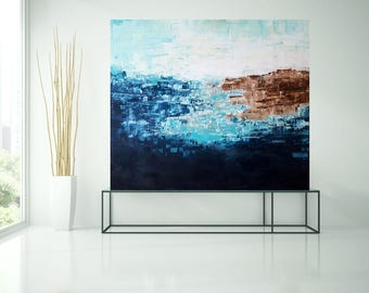 Abstract image, blue, acrylic, painting, art, seascape painting, blue, white, original art by Camilla Schima